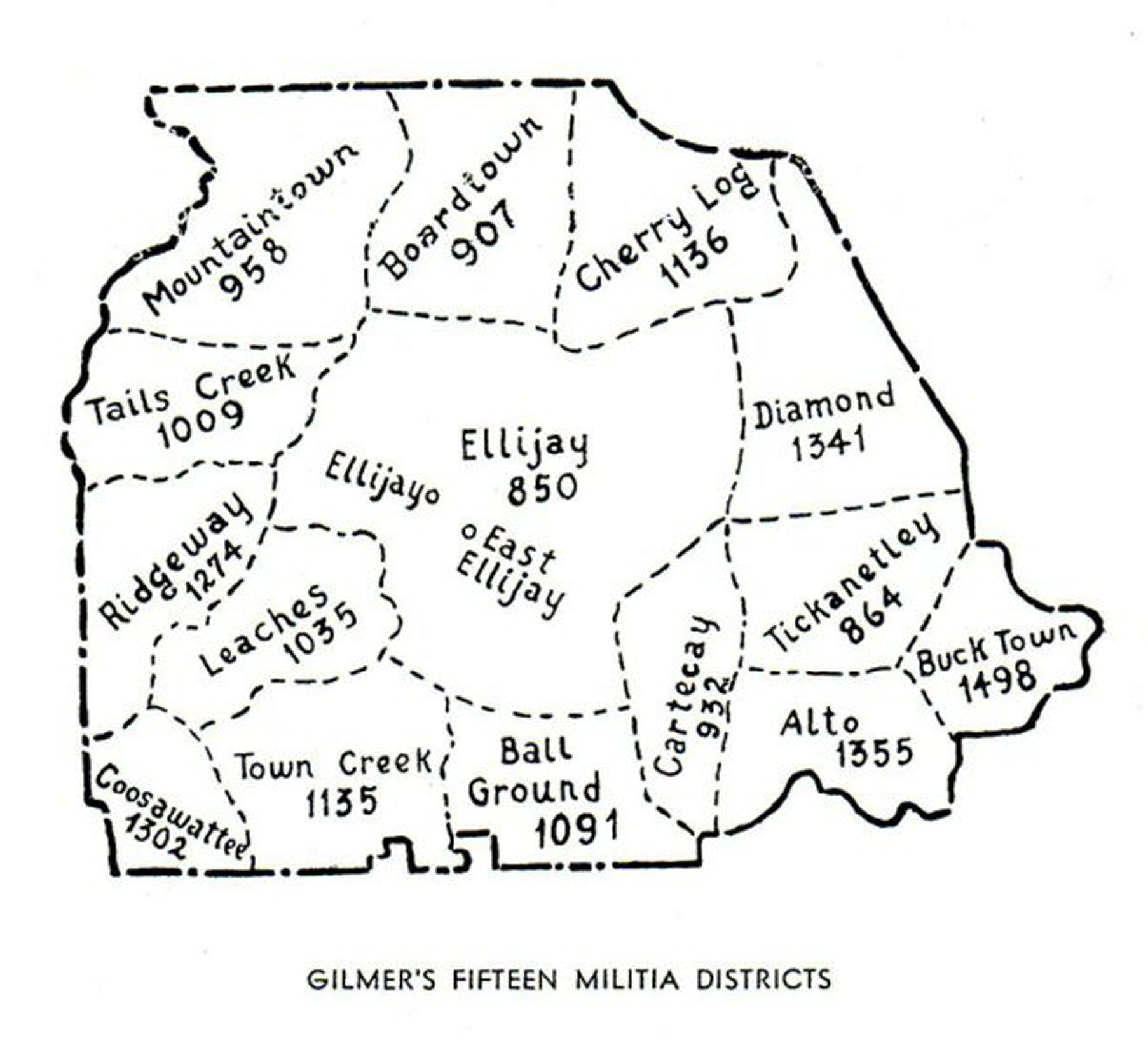 Map Of Georgia Militia Districts.Gagenweb Gilmer County Georgia